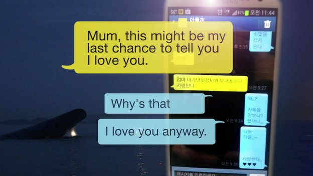 A student sends a heartbreaking message to his mother at the brink of the ferry disaster. He was later rescued, along with 179 other people. (Photo from BBC News Asia)