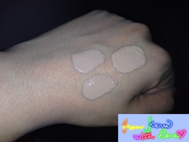 The two smallet blots are samples of BB cream for women, while the bigger blot is BB cream for men.